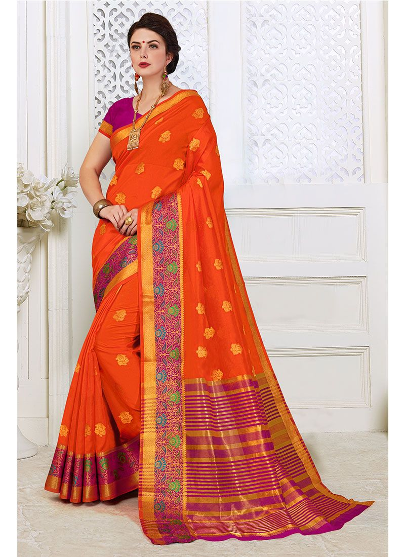 Orange Woven Traditional Designer Saree