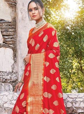 Orange Zari Classic Designer Saree