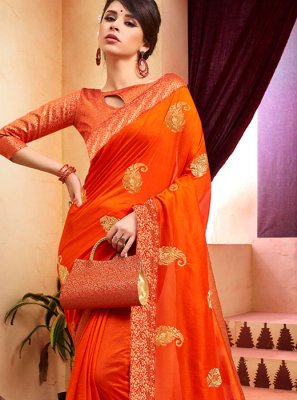 Orange Zari Silk Silk Saree