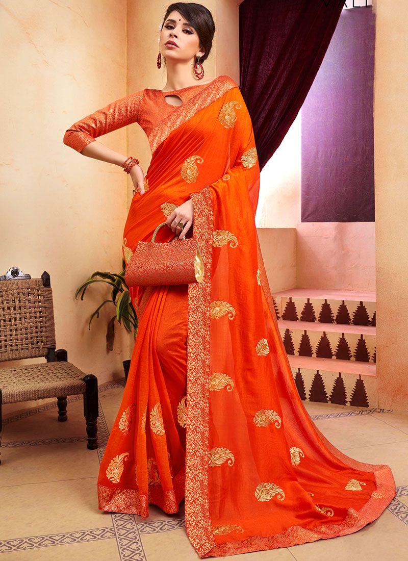 Orange Zari Silk Silk Saree
