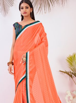 Orange Zari Traditional Saree