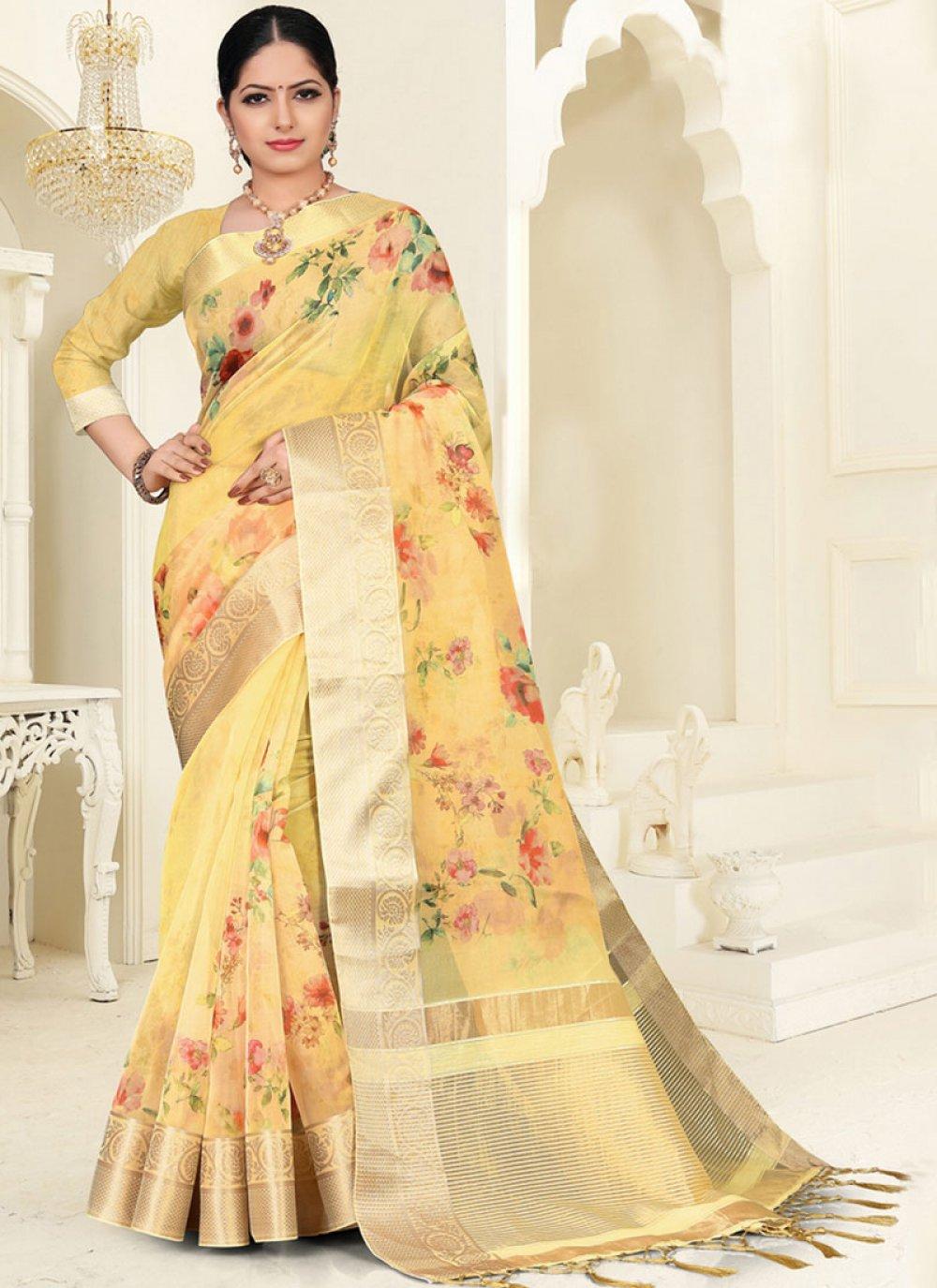 Organza Digital Print Yellow Silk Saree
