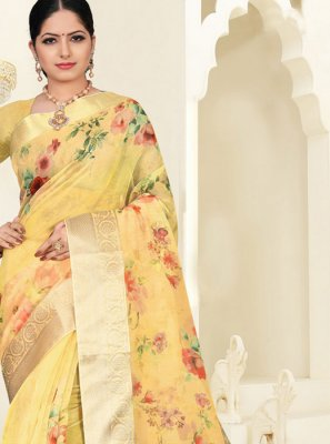 Organza Digital Print Yellow Silk Saree