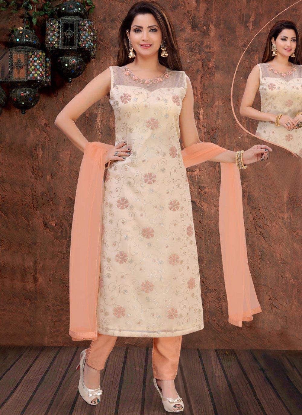 Organza Embroidered Cream Designer Pakistani Suit