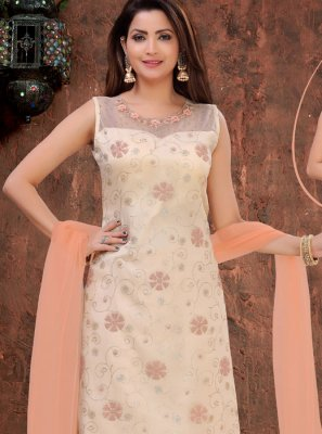 Organza Embroidered Cream Designer Pakistani Suit
