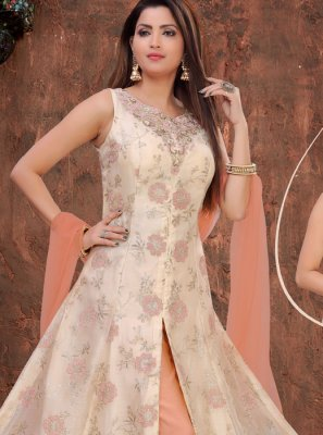 Organza Embroidered Cream Designer Salwar Suit