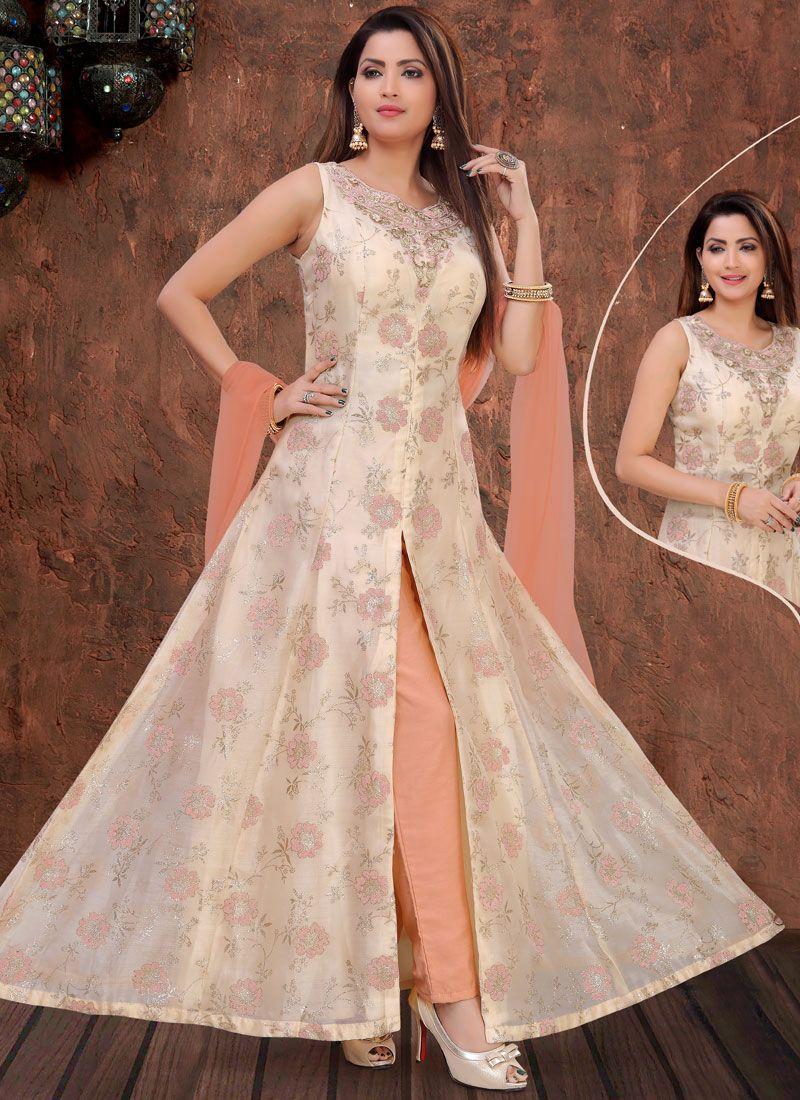 Organza Embroidered Cream Designer Salwar Suit