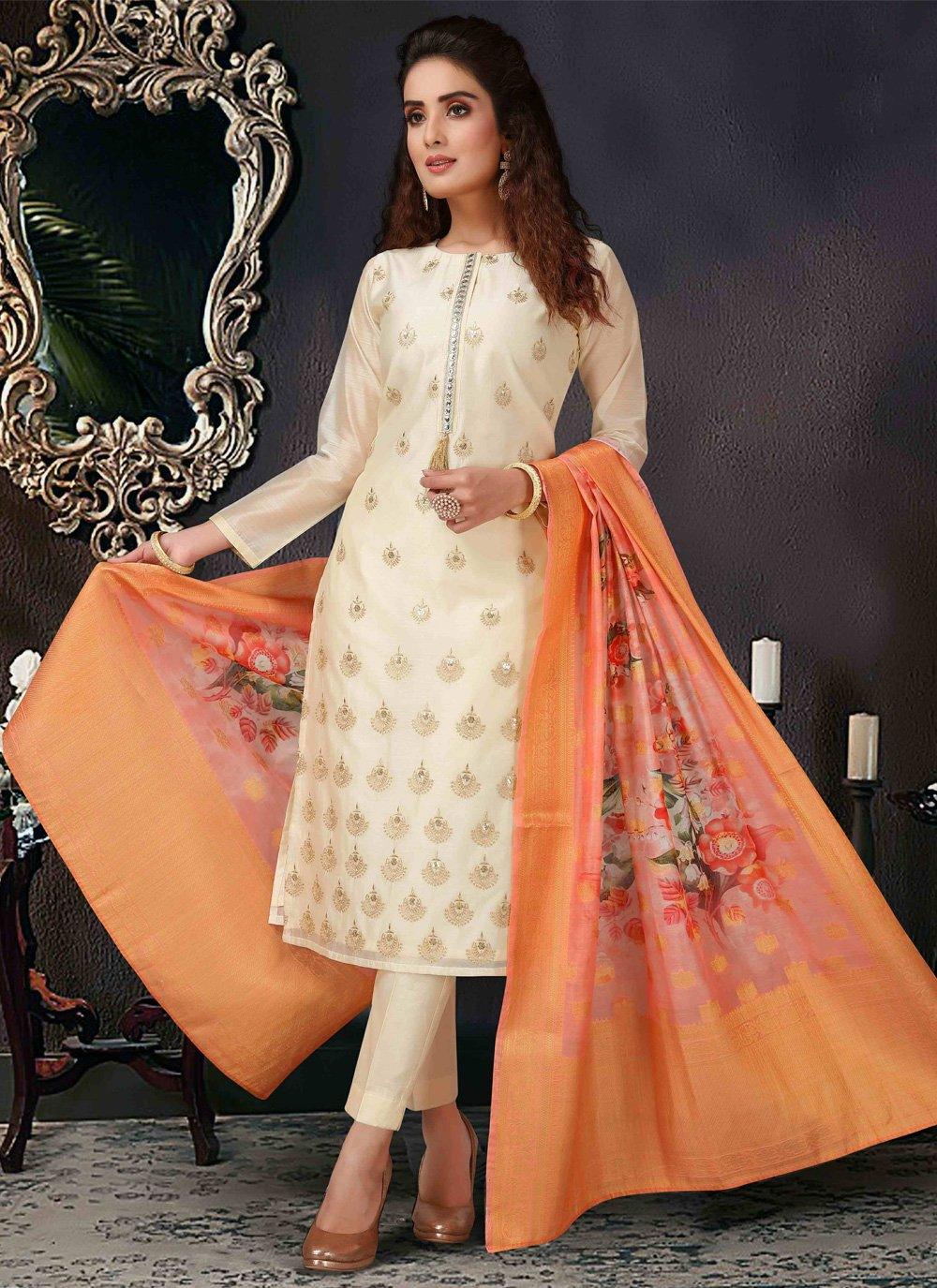 Organza Embroidered Pant Style Suit in Cream