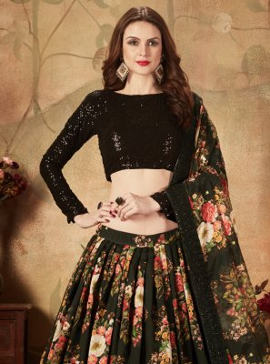 Organza Floral Print Trendy Lehenga Choli in Black