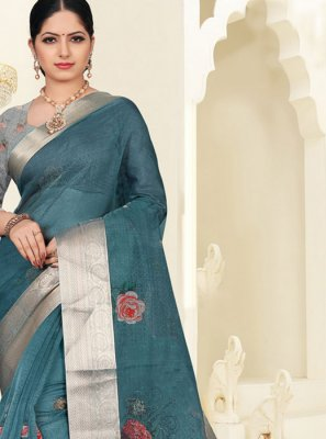 Organza Grey Silk Saree