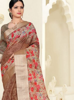 Organza Multi Colour Digital Print Silk Saree