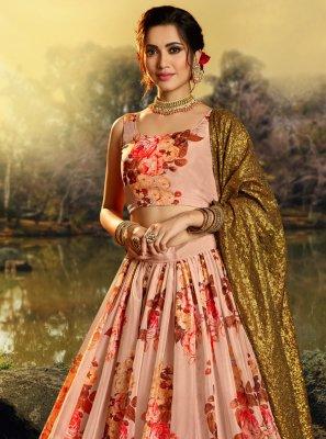 Organza Peach Printed Designer Lehenga Choli