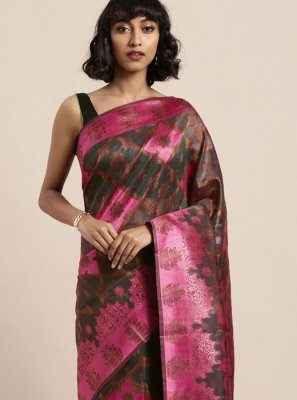 Organza Traditional Saree in Multi Colour