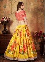 Organza Trendy A Line Lehenga Choli in Yellow