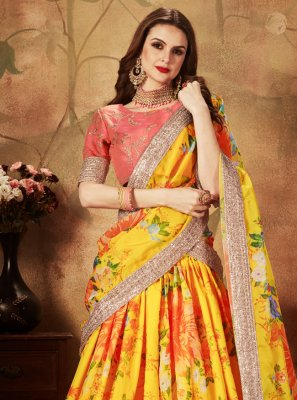 Organza Trendy A Line Lehenga Choli in Yellow