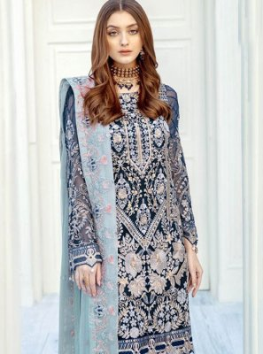 Pakistani Salwar Suit Resham Faux Georgette in Blue