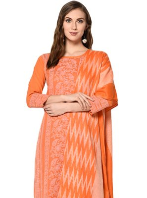 Palazzo Designer Salwar Kameez Print Cotton in Orange