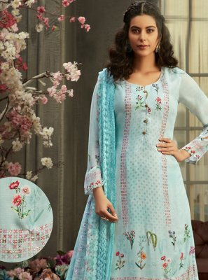 Palazzo Designer Suit Digital Print Georgette in Aqua Blue