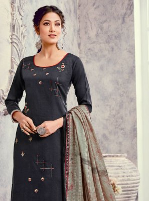 Palazzo Salwar Kameez Embroidered Silk in Navy Blue