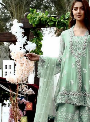Palazzo Salwar Suit Embroidered Georgette in Green