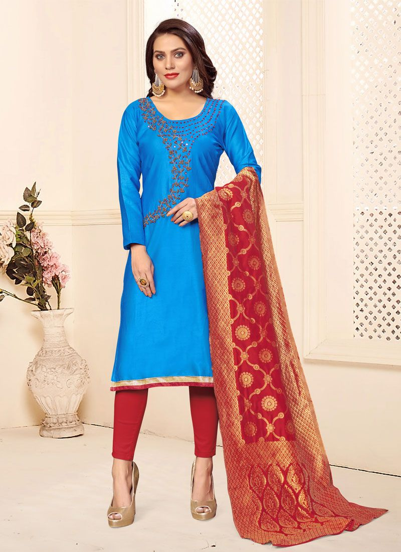 Pant Style Suit Embroidered Cotton in Firozi