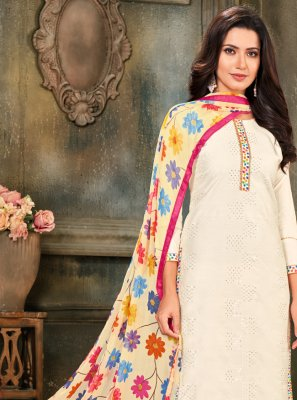 Pant Style Suit Embroidered Cotton in Off White