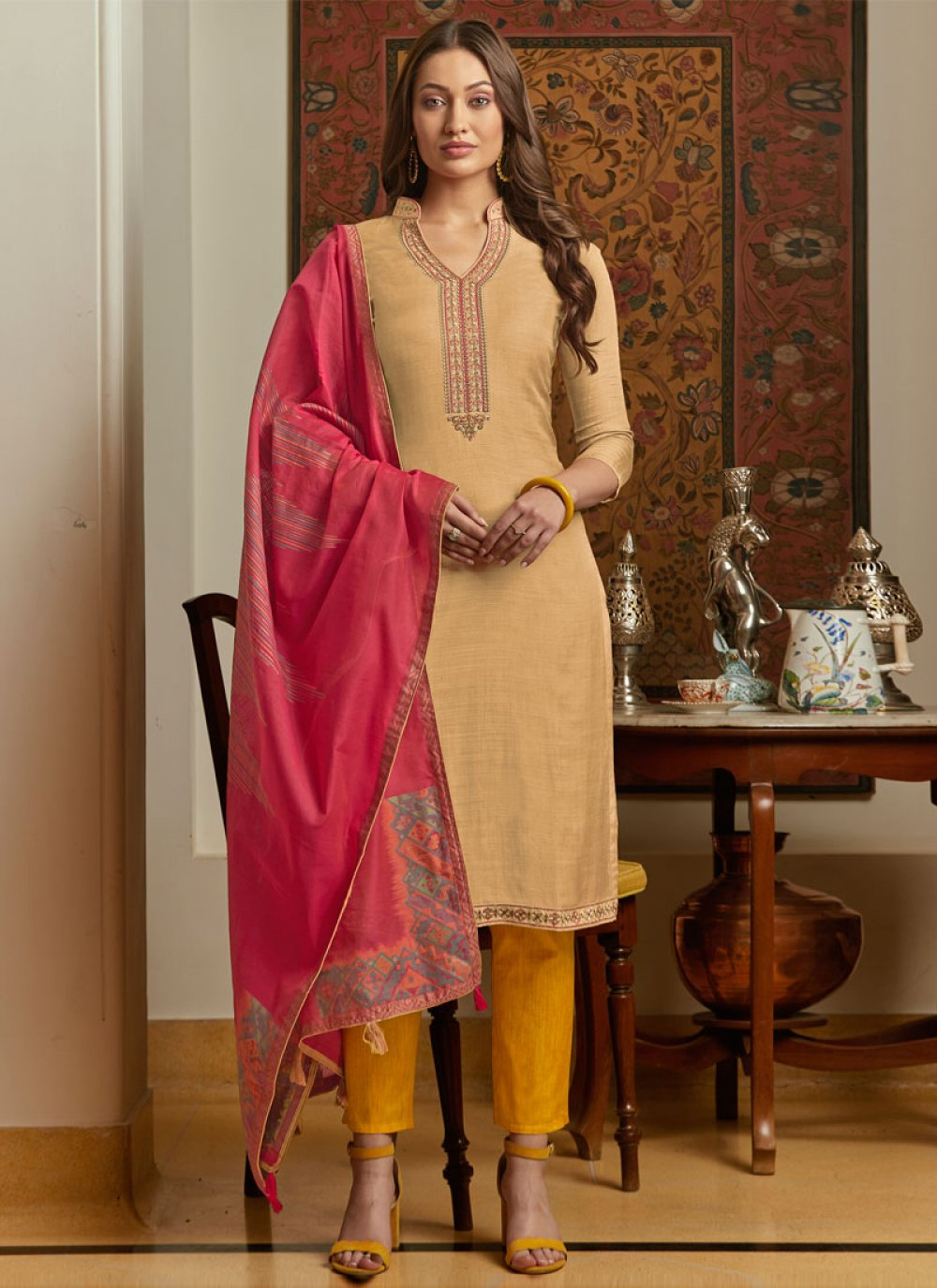 Pant Style Suit Embroidered Muslin in Beige