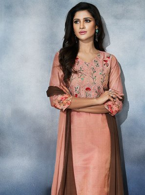 Pant Style Suit Plain Art Silk in Peach