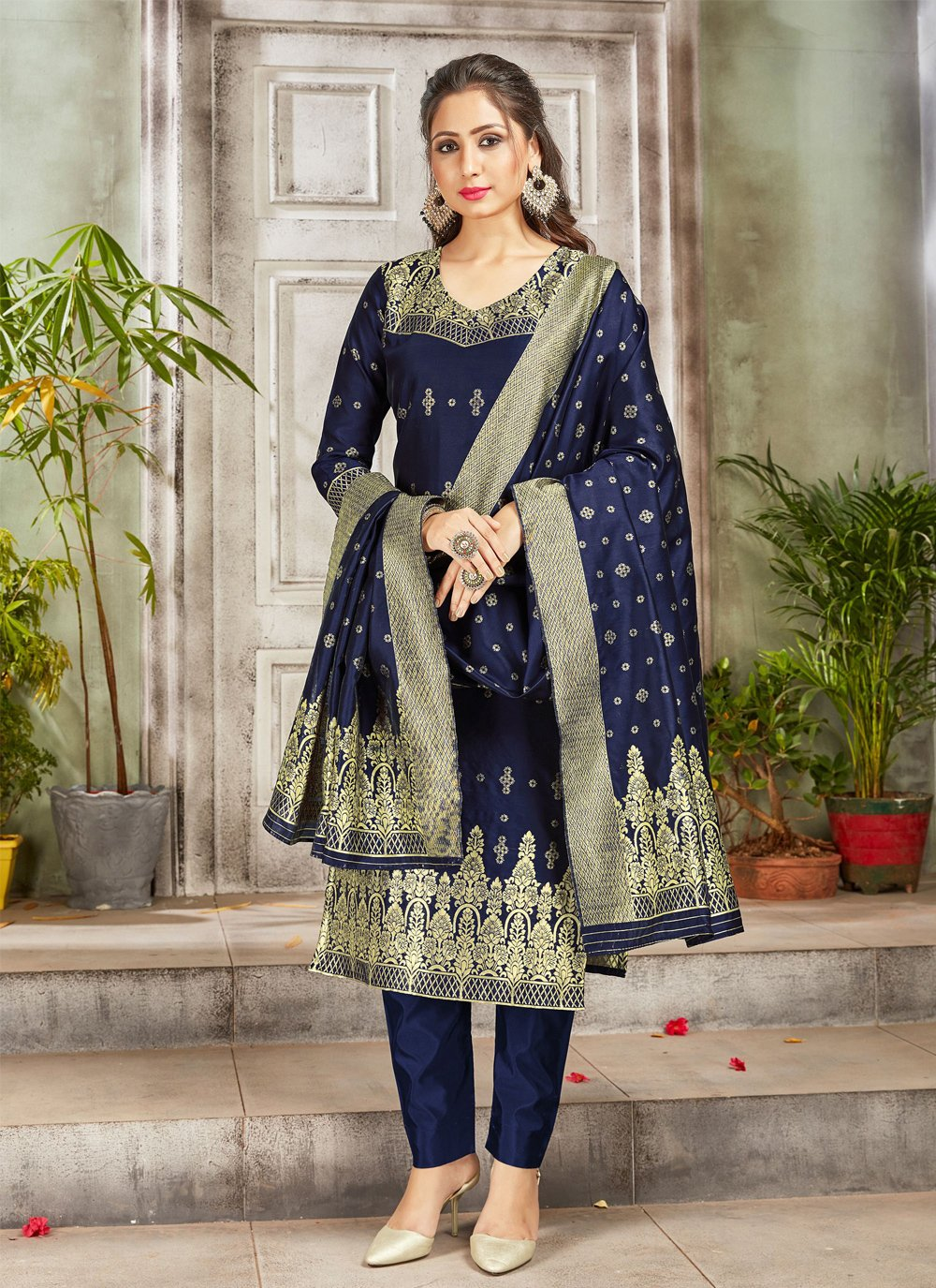 Pant Style Suit Weaving Art Banarasi Silk in Navy Blue