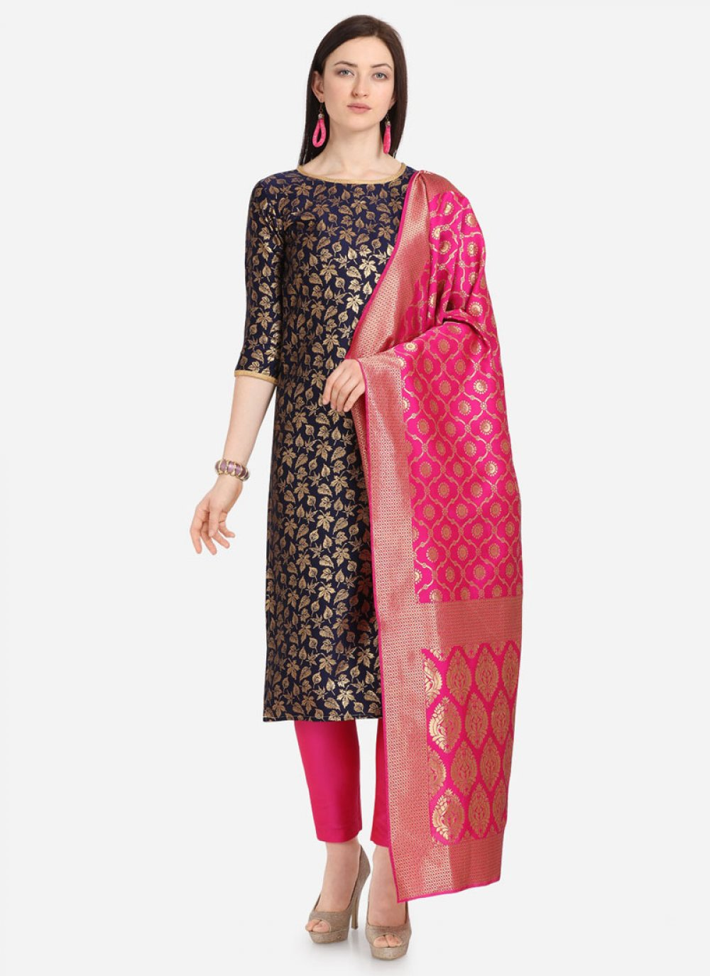 Pant Style Suit Weaving Jacquard in Navy Blue