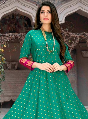 Party Wear Kurti Abstract Print Poly Cotton in Green