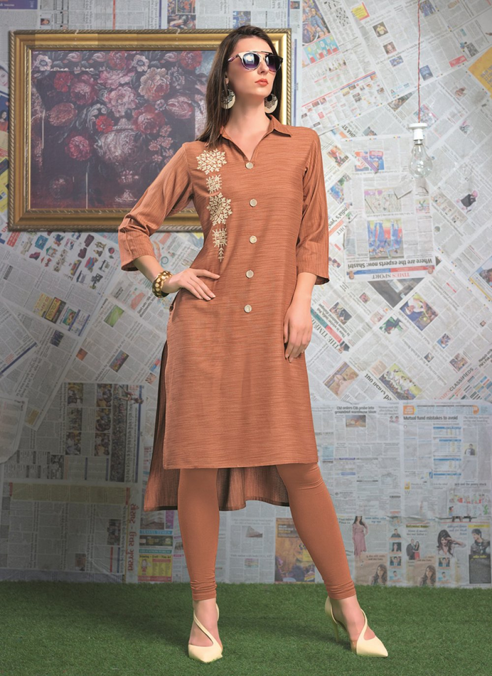 Party Wear Kurti Designer Rayon in Brown