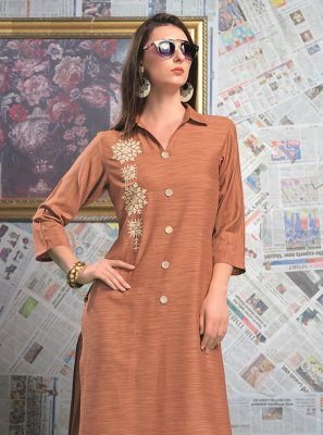 Party Wear Kurti Designer Rayon in Pink