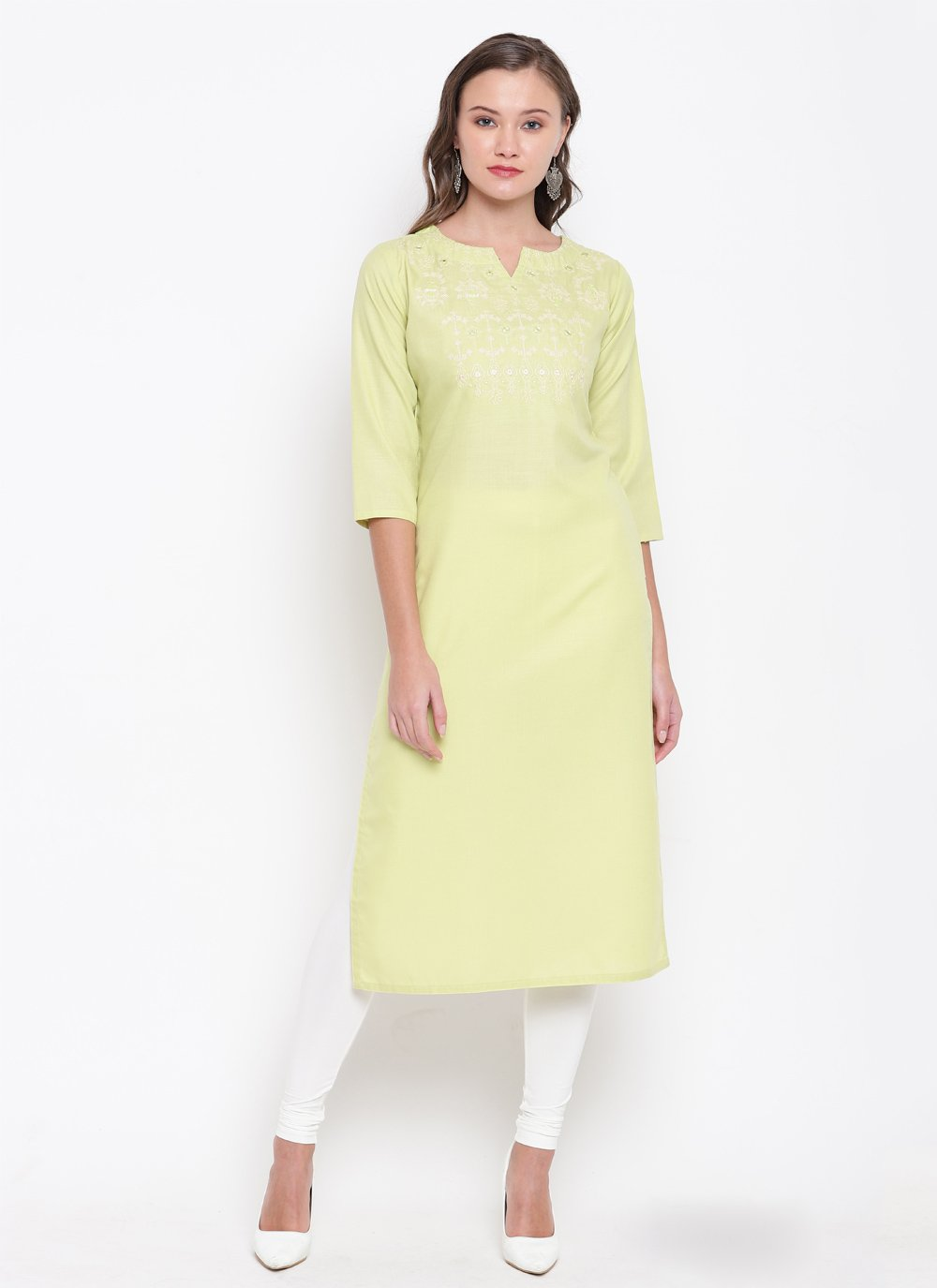 Party Wear Kurti Embroidered Cotton in Cream