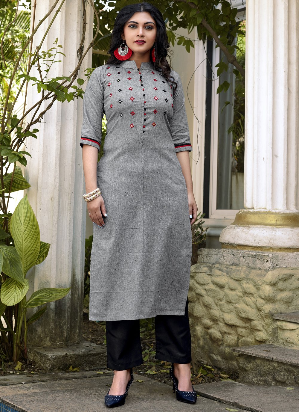 Party Wear Kurti Embroidered Cotton in Grey