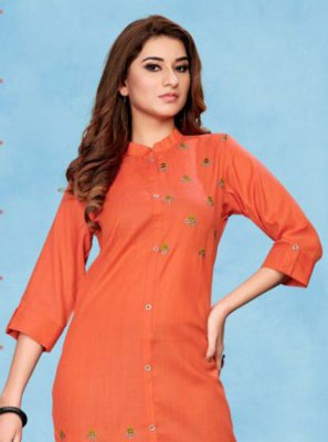 Party Wear Kurti Embroidered Cotton in Orange