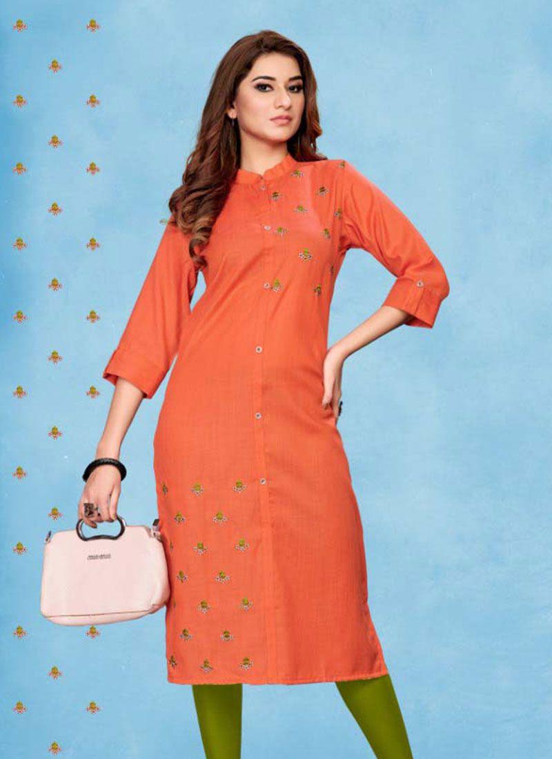 Party Wear Kurti Embroidered Cotton in Orange
