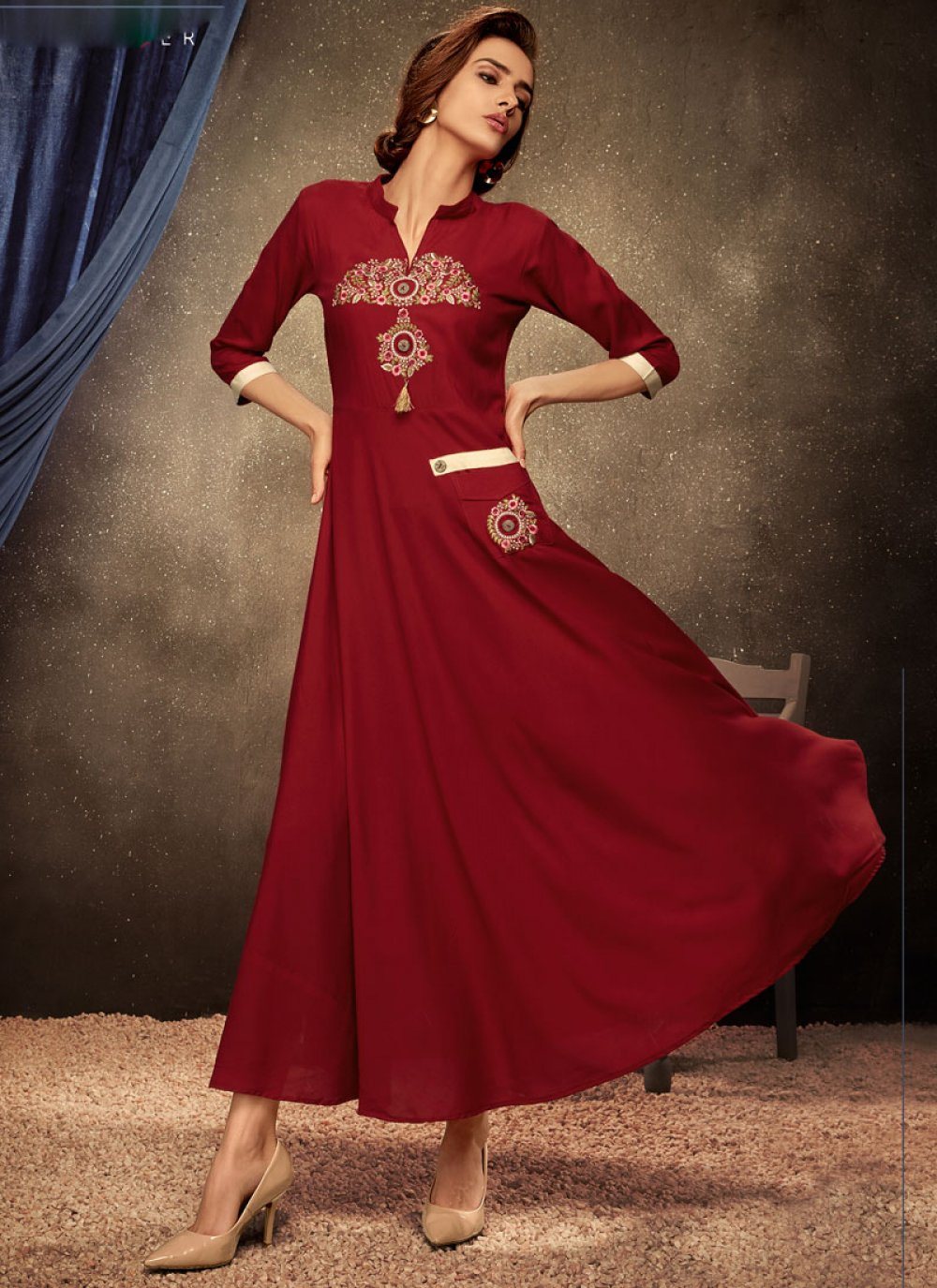 Party Wear Kurti Embroidered Rayon in Maroon