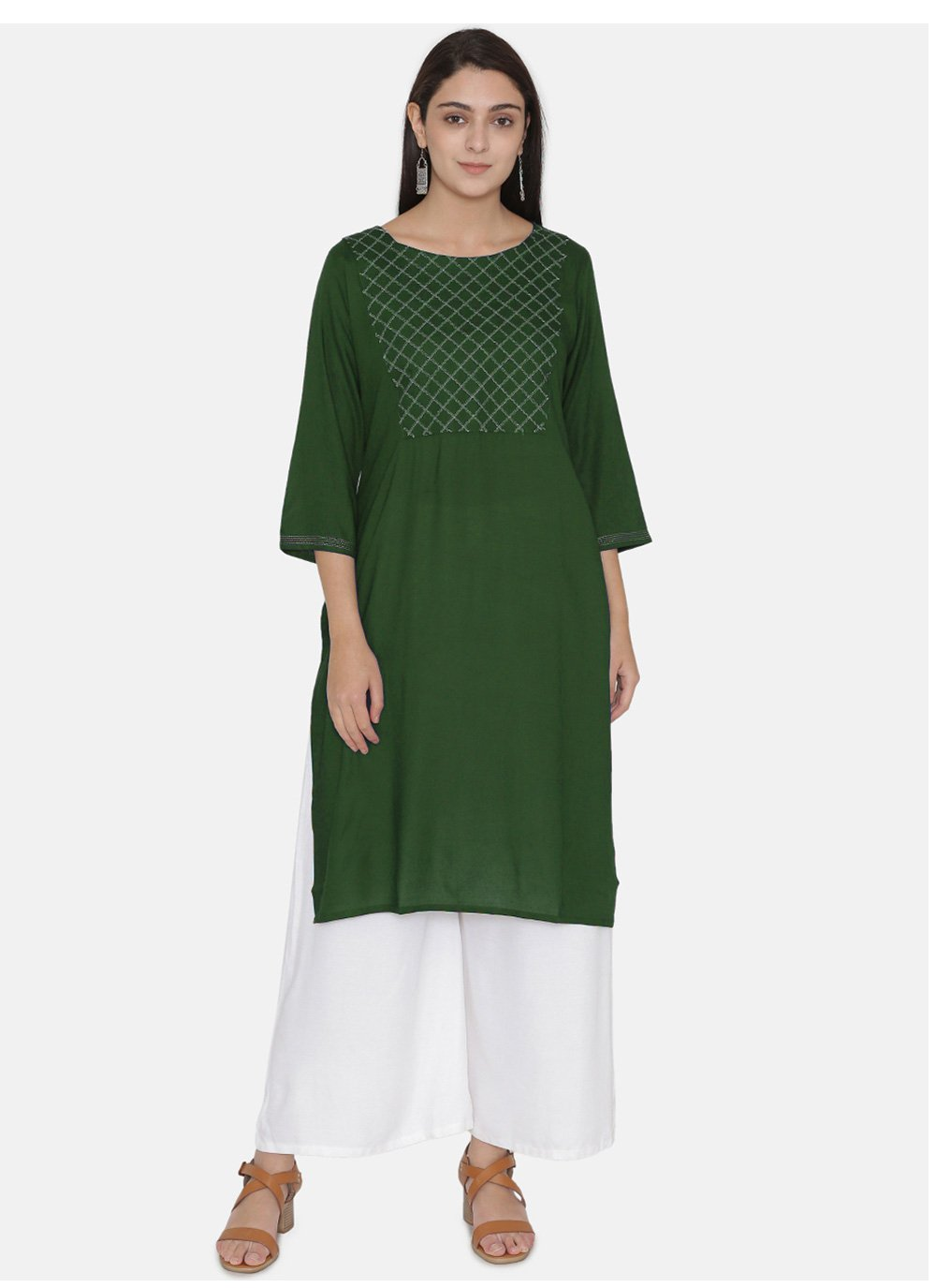 Party Wear Kurti Embroidered Rayon in Sea Green