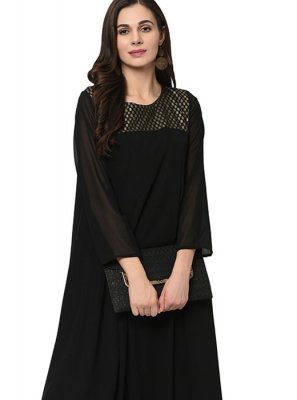 Party Wear Kurti Fancy Faux Georgette in Black