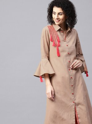 Party Wear Kurti Patchwork Cotton in Brown