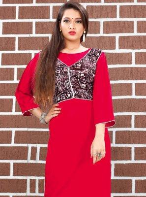 Party Wear Kurti Plain Silk in Red