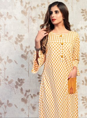 Party Wear Kurti Printed Cotton in Beige