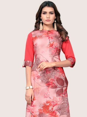 Party Wear Kurti Printed Faux Crepe in Multi Colour