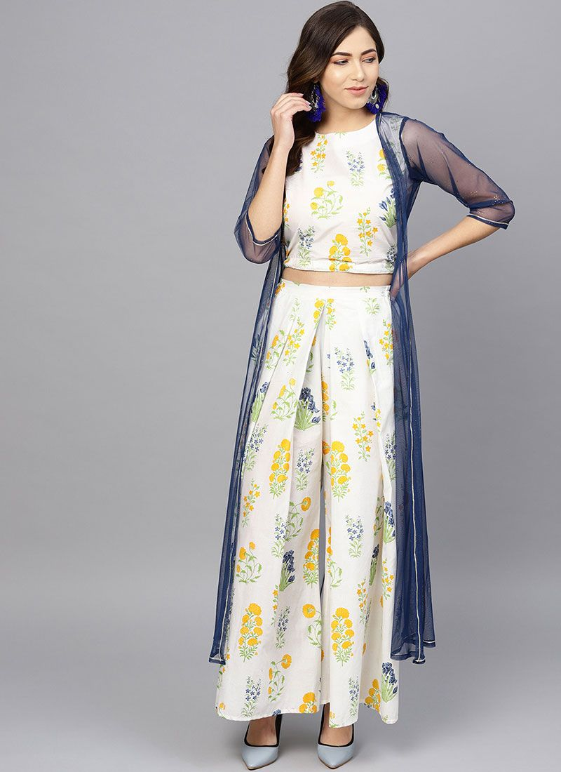 Party Wear Kurti Printed Net in White