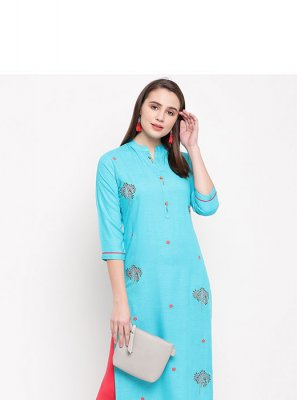 Party Wear Kurti Printed Rayon in Blue