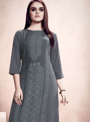 Party Wear Kurti Printed Rayon in Grey