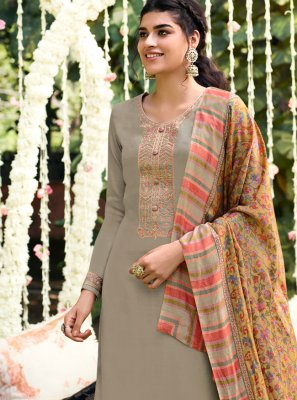 Pashmina Bollywood Salwar Kameez in Grey