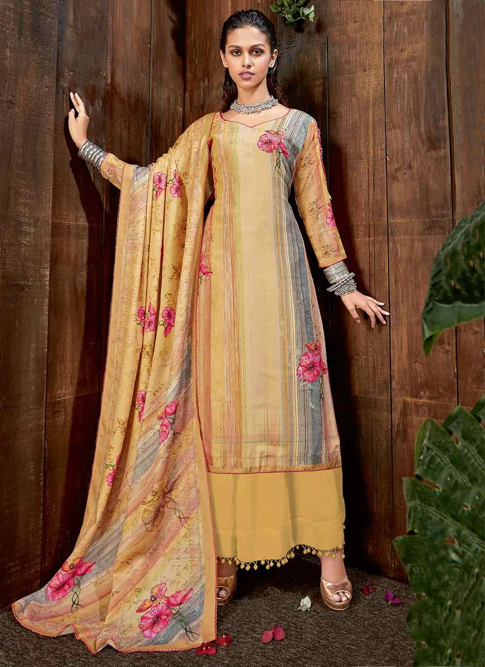 Pashmina Diamond Multi Colour Trendy Straight Salwar Suit