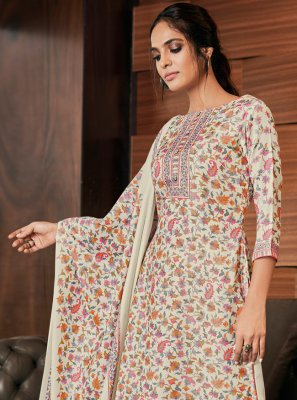 Pashmina Digital Print Cream Salwar Suit